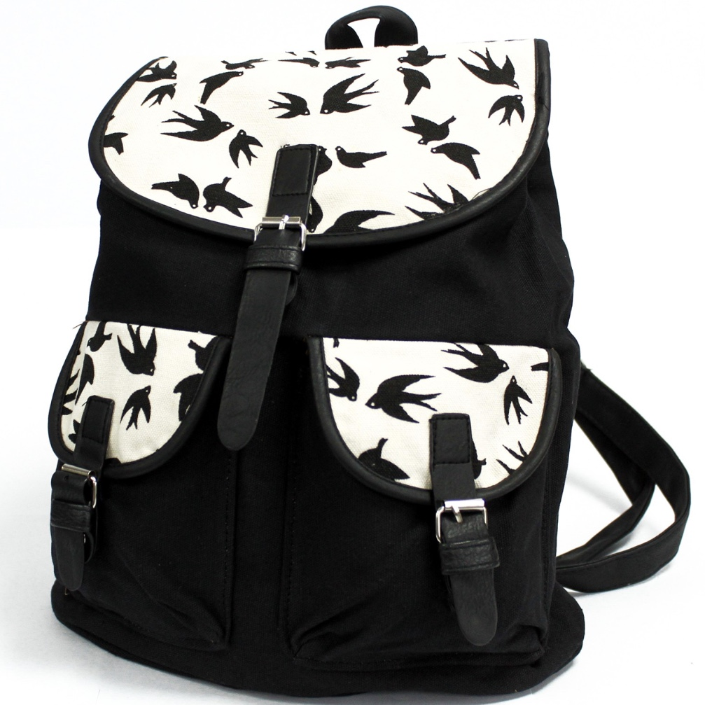Black Swallows 2 Pocket Traveller Backpack