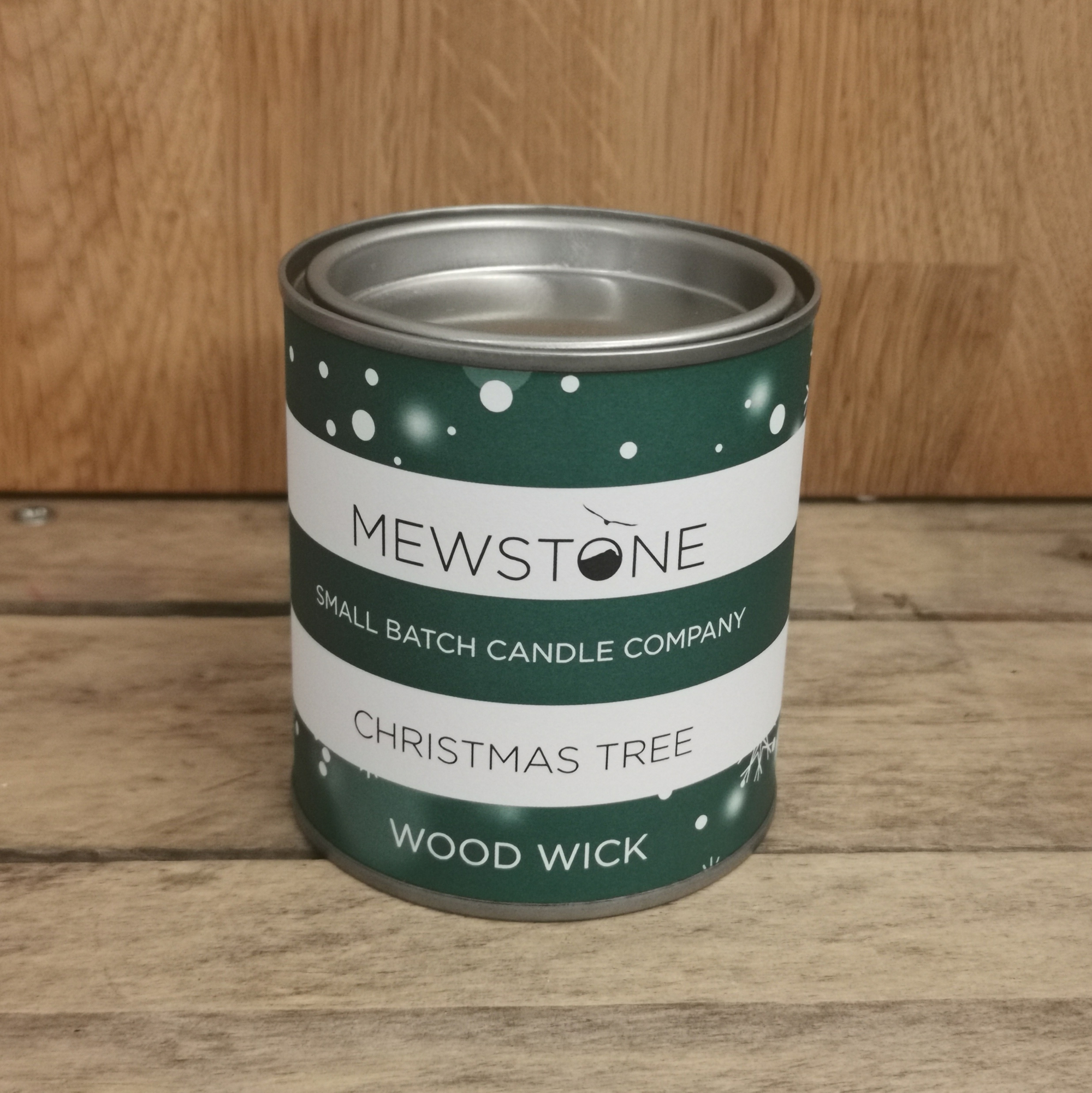 'Christmas Tree' Mewstone Paint Tin Candle (Wood Wick)