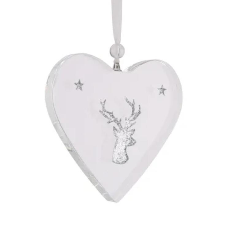 Glitter Glass Heart Decoration
