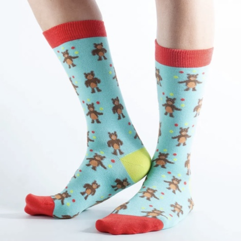 'Aqua Juggling Bear' Ladies Bamboo Socks