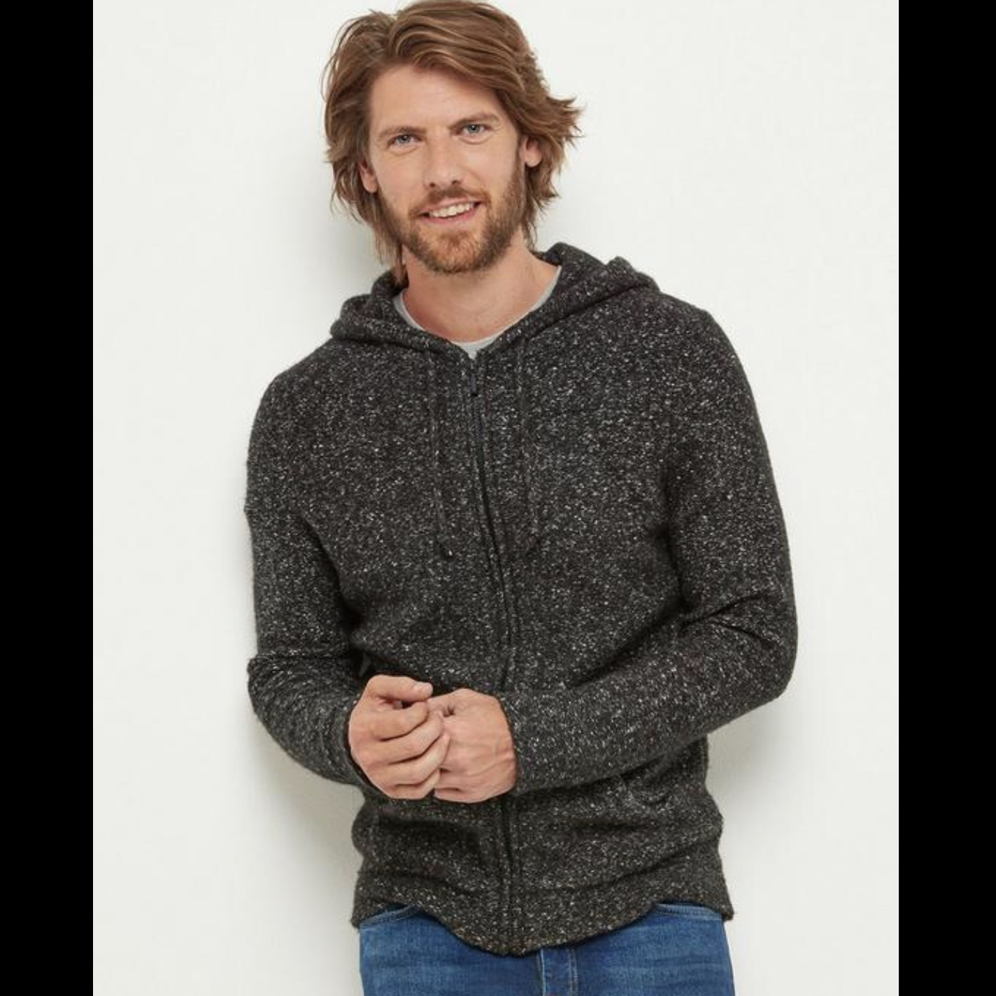 Hooded Zip Knit