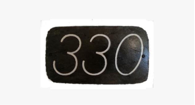 105 Skifer Nummerskilt 3 siffer m/skriftmaling