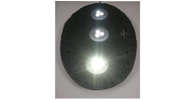 244 Skifer Taklampe med LED downligt 490 x340