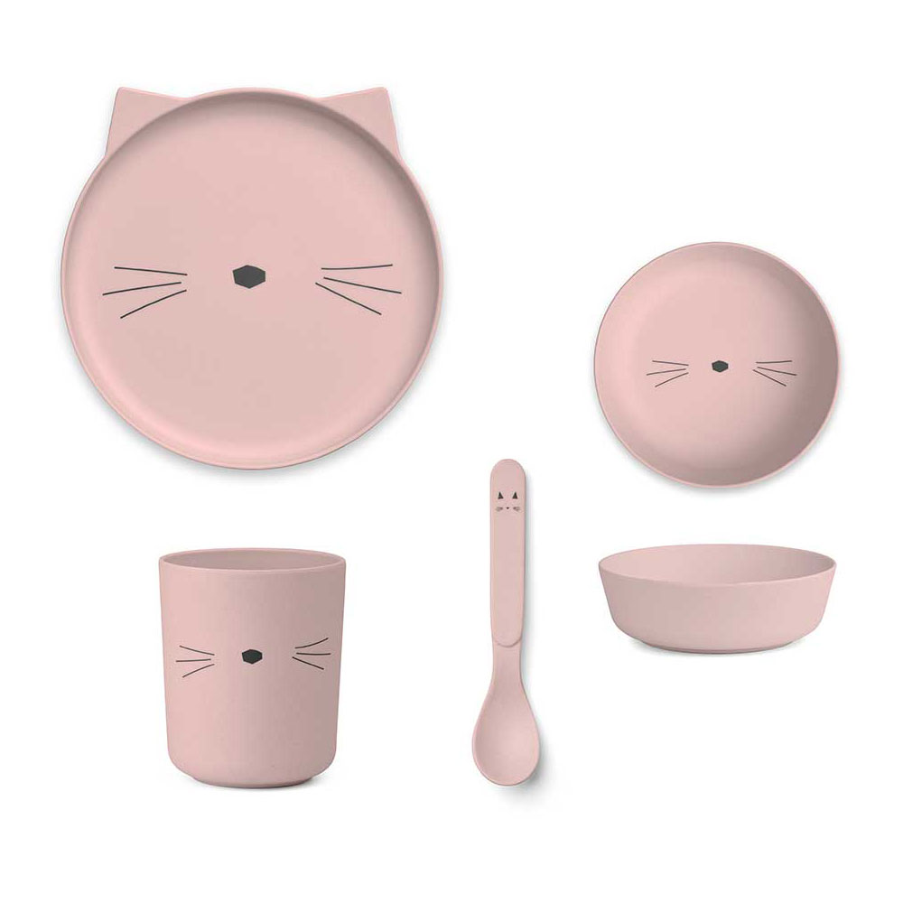 Liewood - Bamboo Tableware Set Cat rose