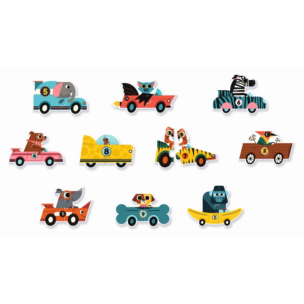 Djeco - Puzzle Duo Rennautos