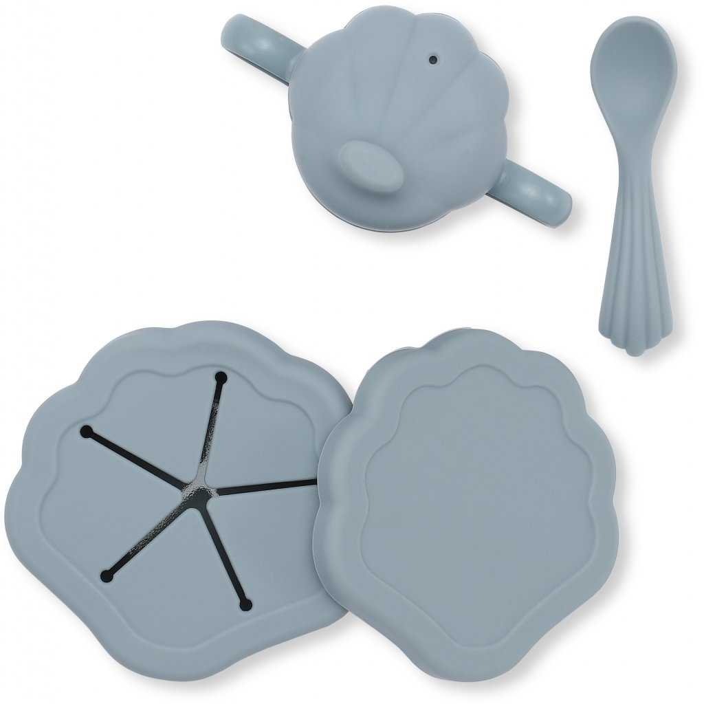 konges slojd - Silikon Muschel Geschirr Set Light Blue