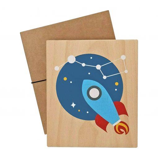 lubulona – Holz Wandbild Rakete