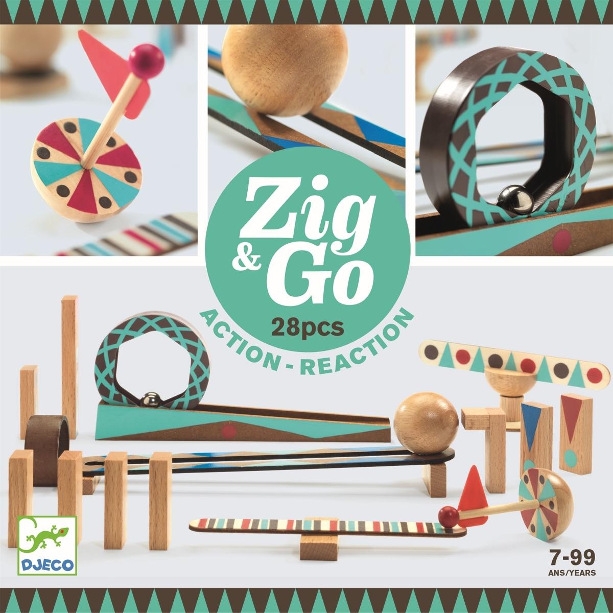 Djeco - Zig & Go Domino Kugelbahn 28 Teile