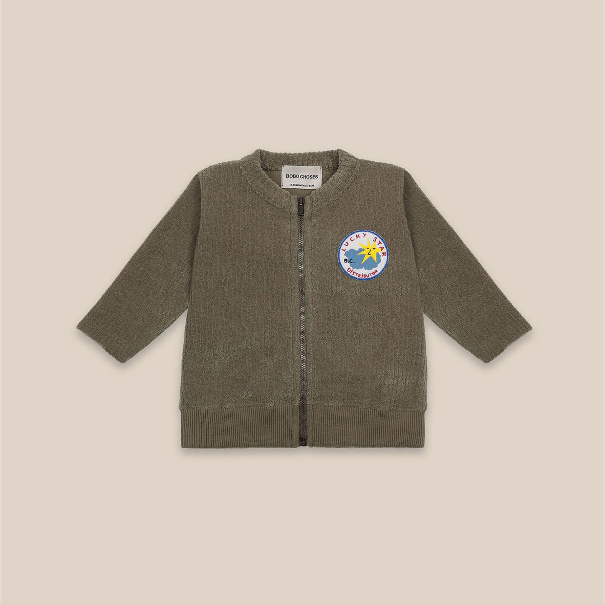 Bobo Choses - Baby Lucky Star Patch Zipped Sweatshirt
