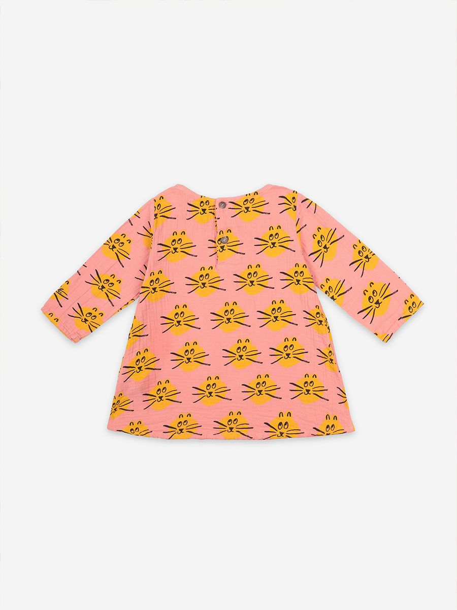 Bobo Choses - Baby Cat All Over long sleeve dress