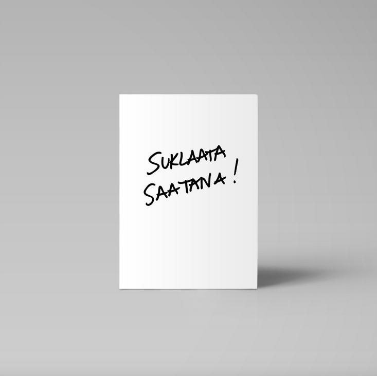 Ainoa Graphic Design: Suklaata saatana -postikortti