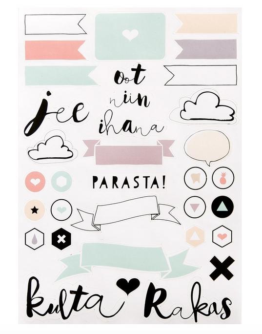 Ainoa Graphic Design: Oot niin ihana -tarra-arkki