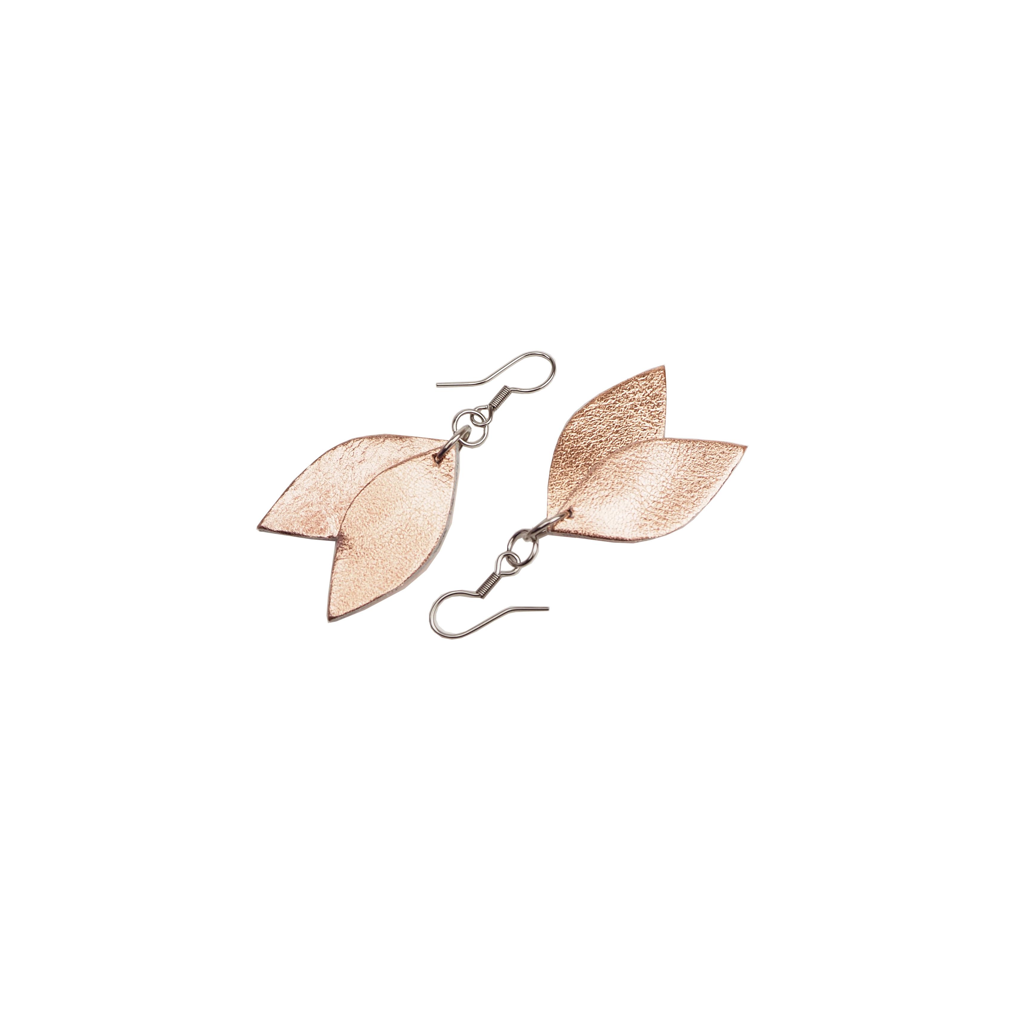 Cobblerina: pienet Lehdykkä-korvakorut, ruusukulta