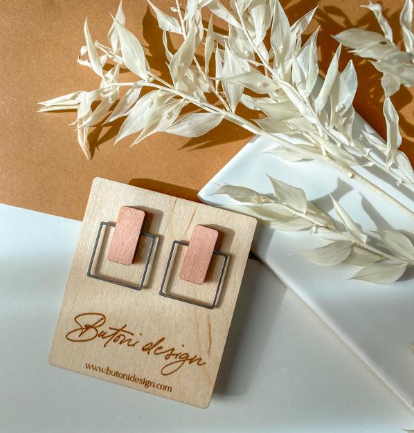 ButoniDesign: Neliö-korvakorut, vaaleanpunainen-hopea