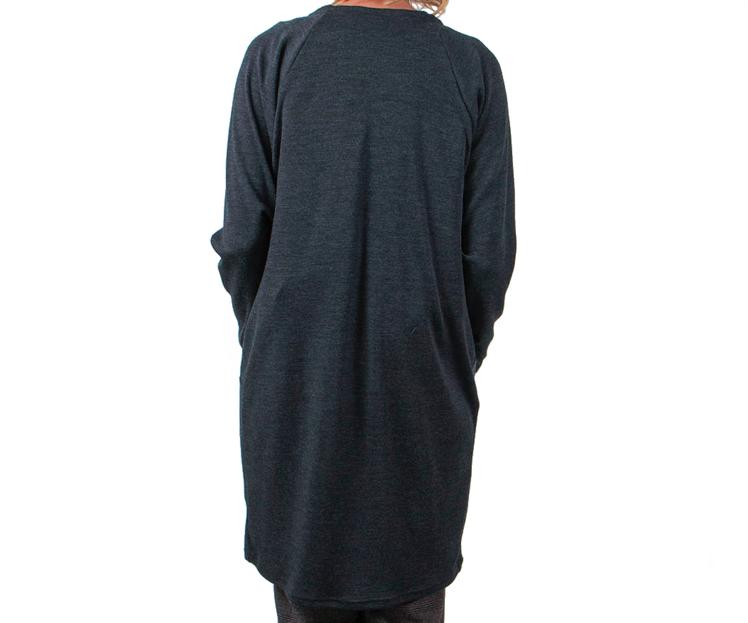 Vietto: merinovillainen taskuneuletakki, tummanharmaa