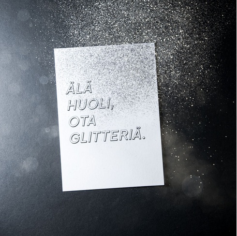Ainoa Graphic Design: Glitter-postikortti