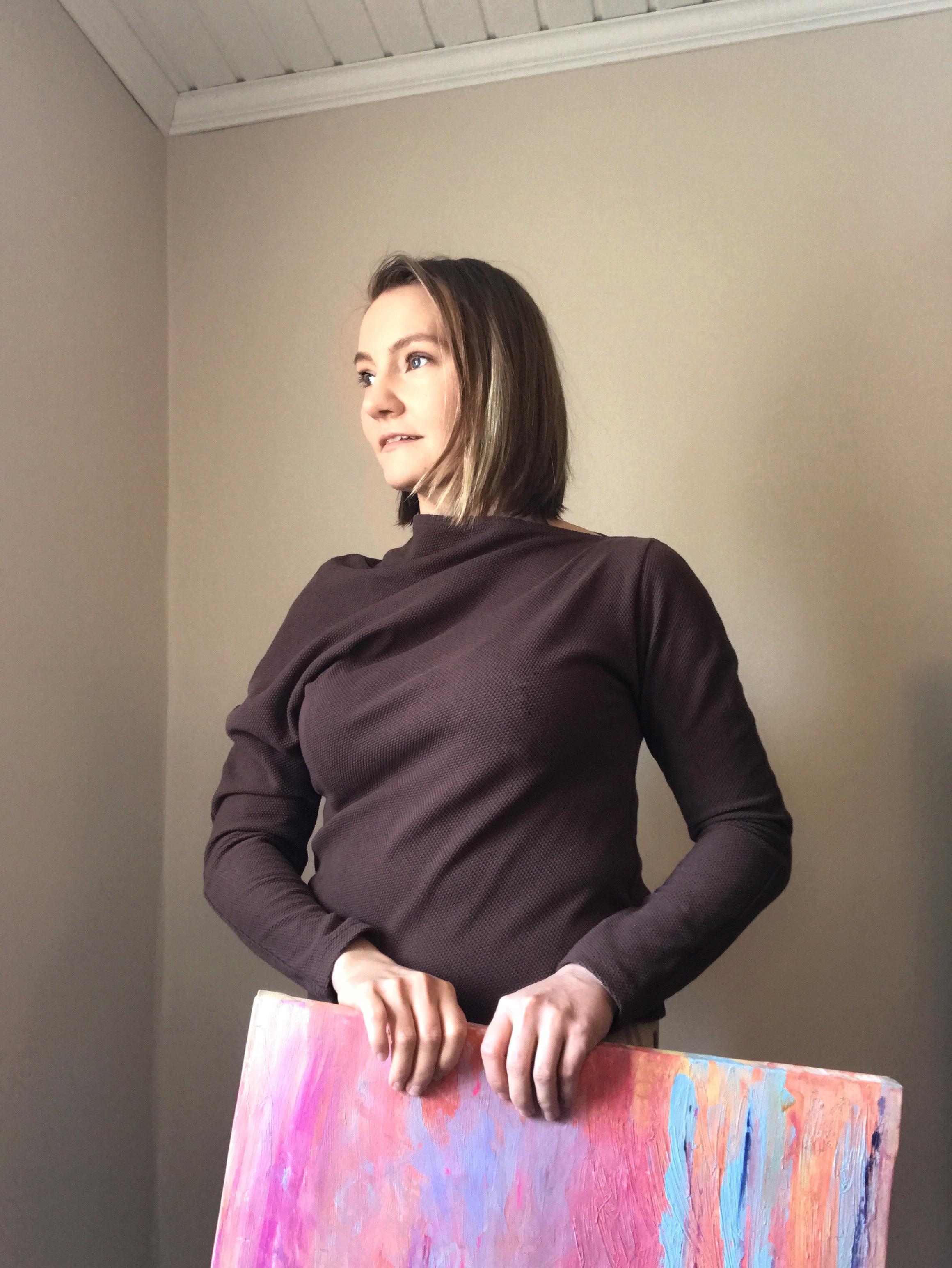 MUKA VA: Asento-paita, kaakaonruskea Dots-struktuuripintainen neulos, ALE