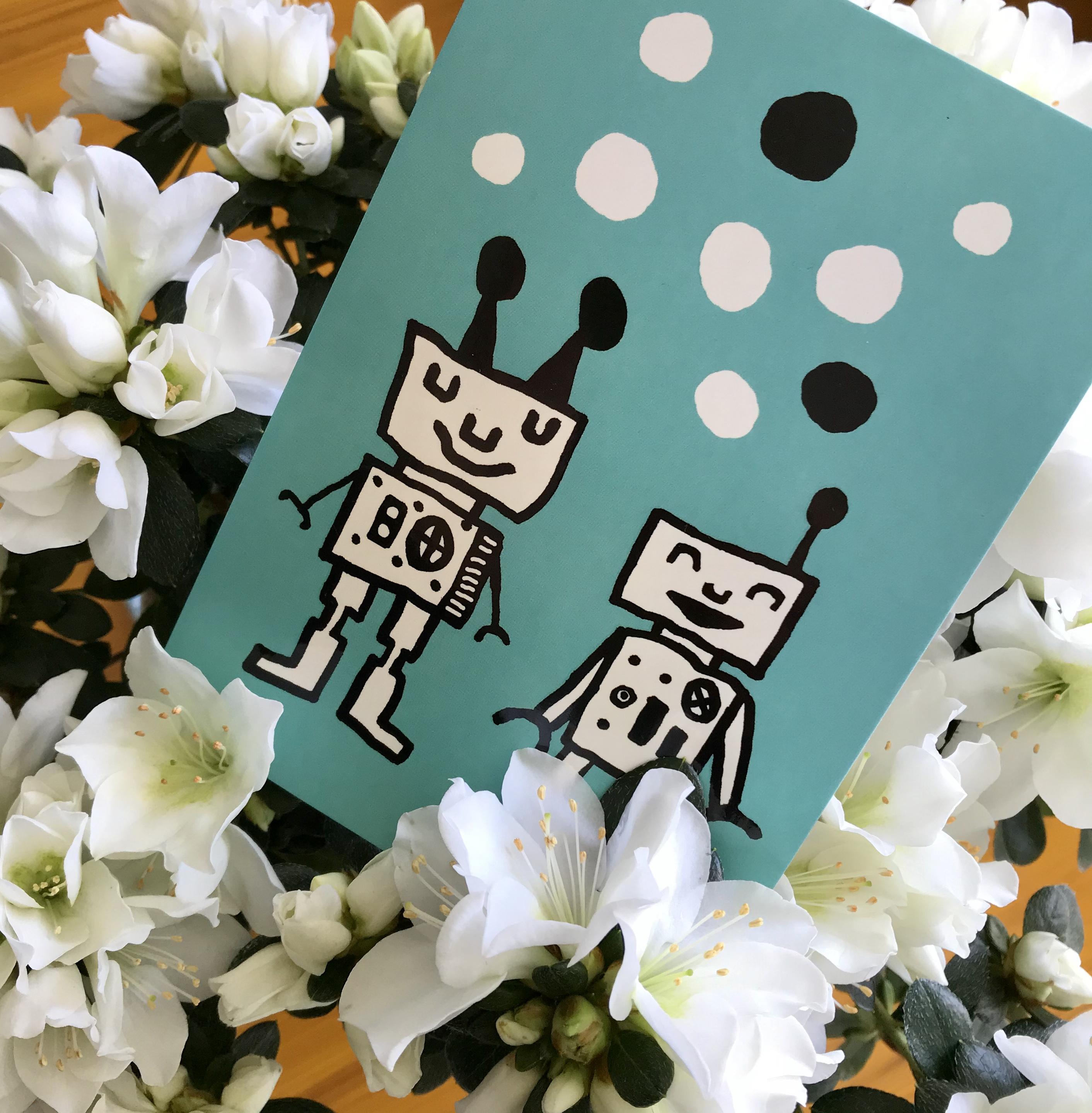 PaaPii Design: Happy Robots -postikortti