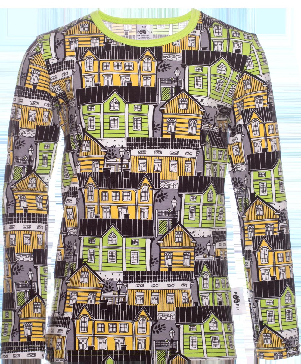 PaaPii Design: Nooa-paita 128-164 cm Vanhakaupunki-kuosilla