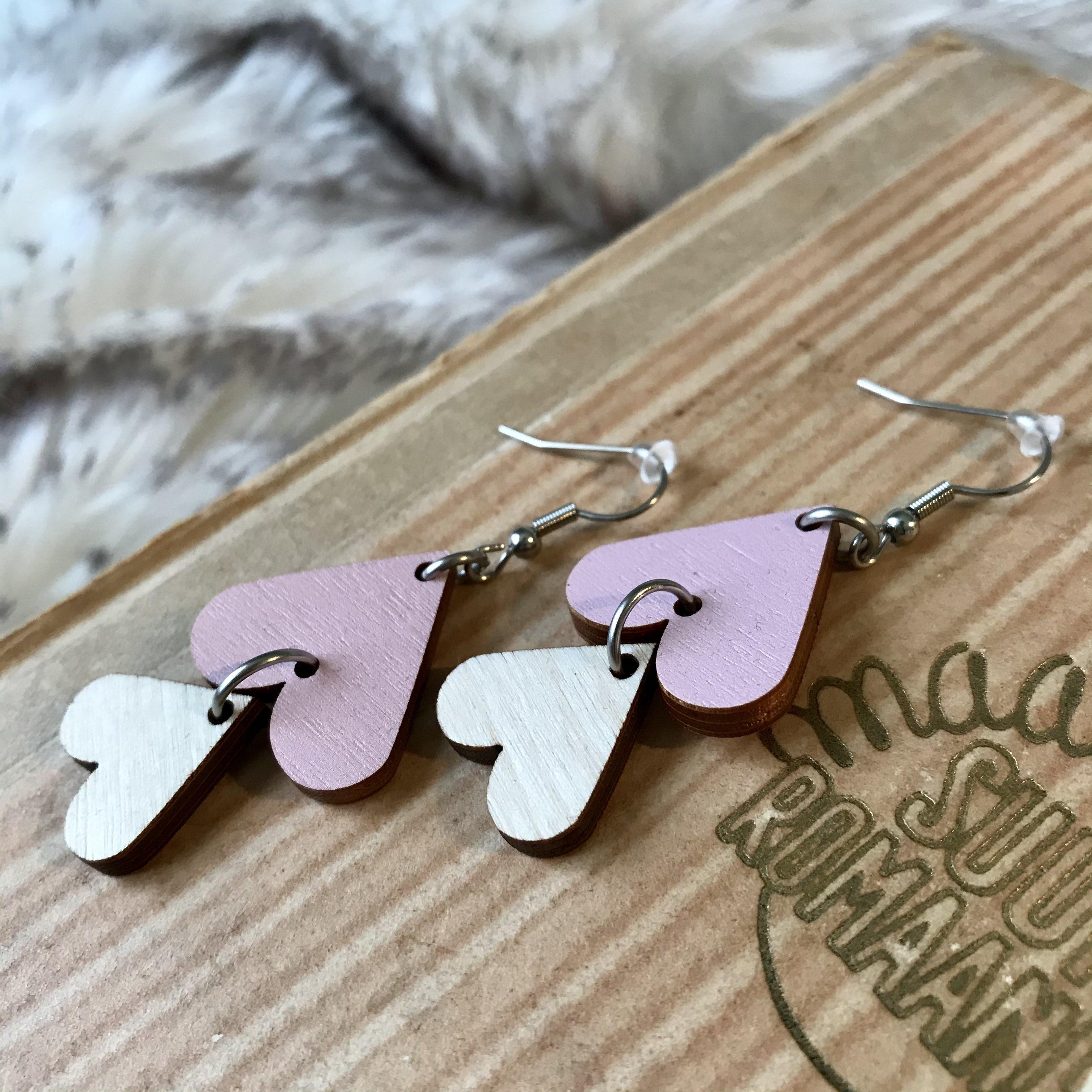 Jatuli: Cherie-korvakorut, vaaleanpunainen-koivu