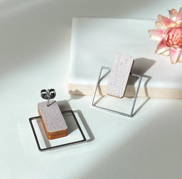 ButoniDesign: Neliö-korvakorut, lila-hopea