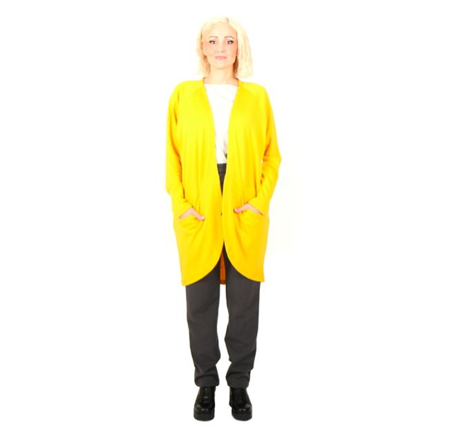 Vietto: merinovillainen taskuneuletakki, keltainen