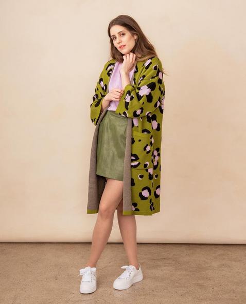 Kaino: Mielitietty-takki, vihreä-laventeli-musta