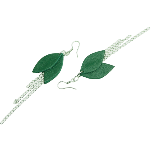 Cobblerina: Lehdykkä-korvakorut ketjulla, vihreä