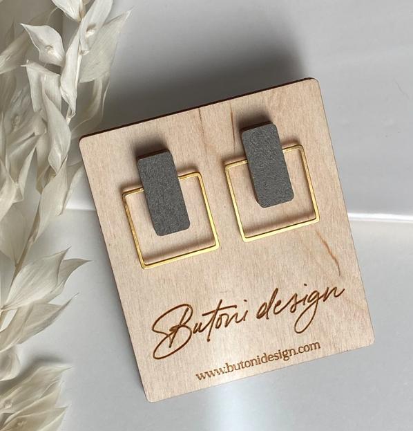 ButoniDesign: Neliö-korvakorut, khaki-kulta