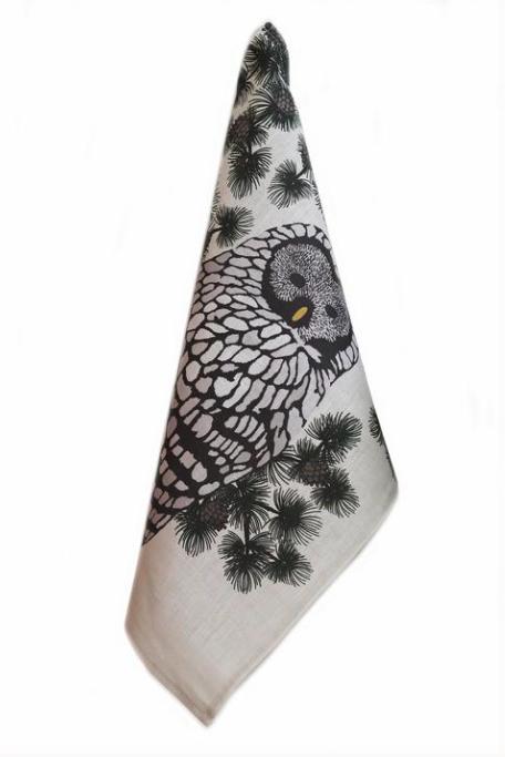 Design Palet: Pöllö-luomupellavapyyhe