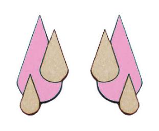Jatuli: Let It Rain -korvakorut, vaaleanpunainen-koivu