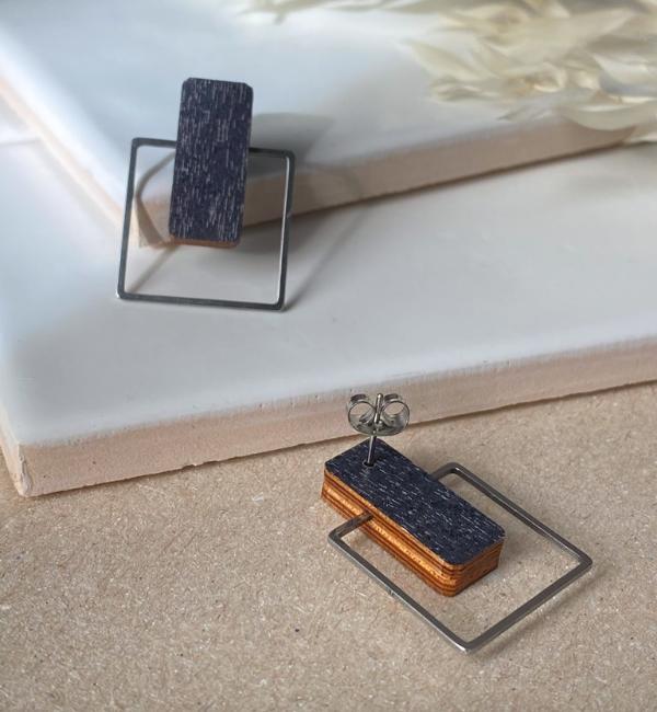 ButoniDesign: Neliö-korvakorut, tumma siniharmaa-hopea