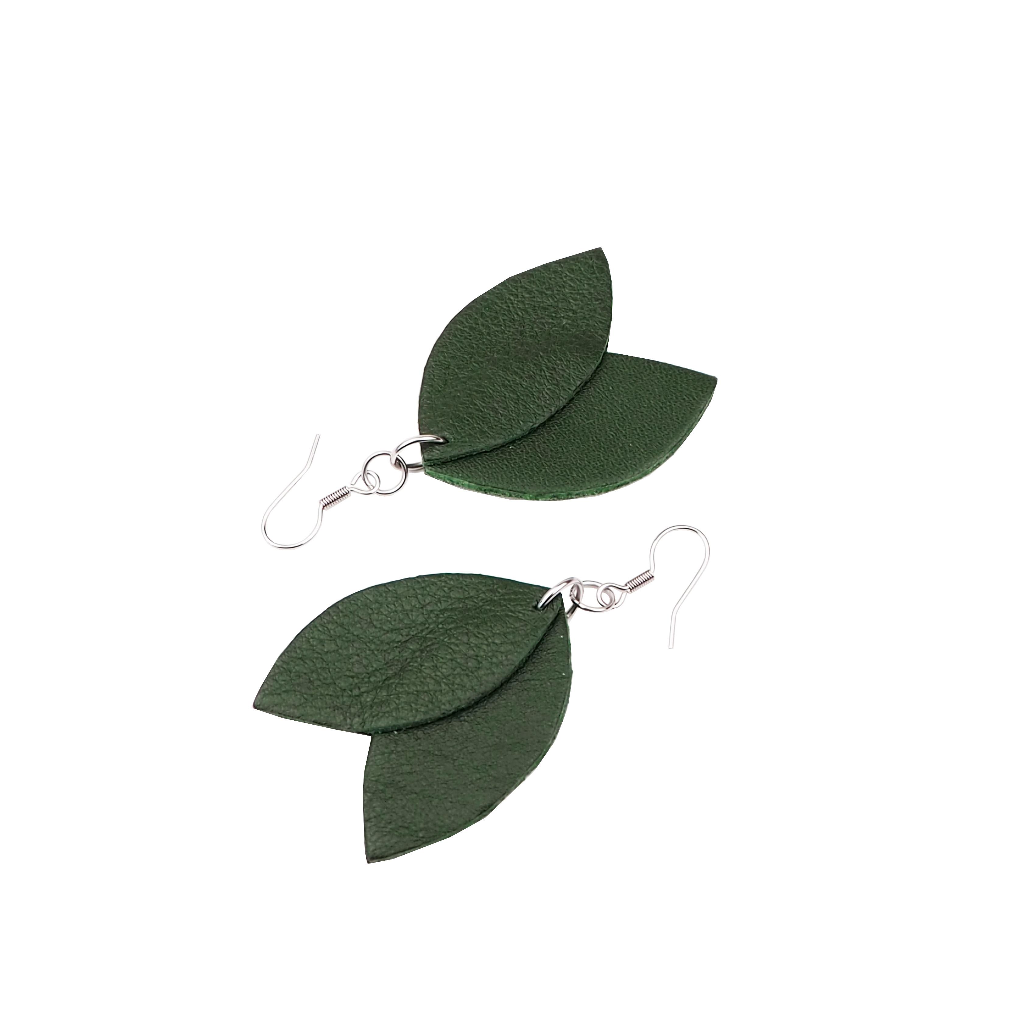 Cobblerina: isot Lehdykkä-korvakorut, vihreä