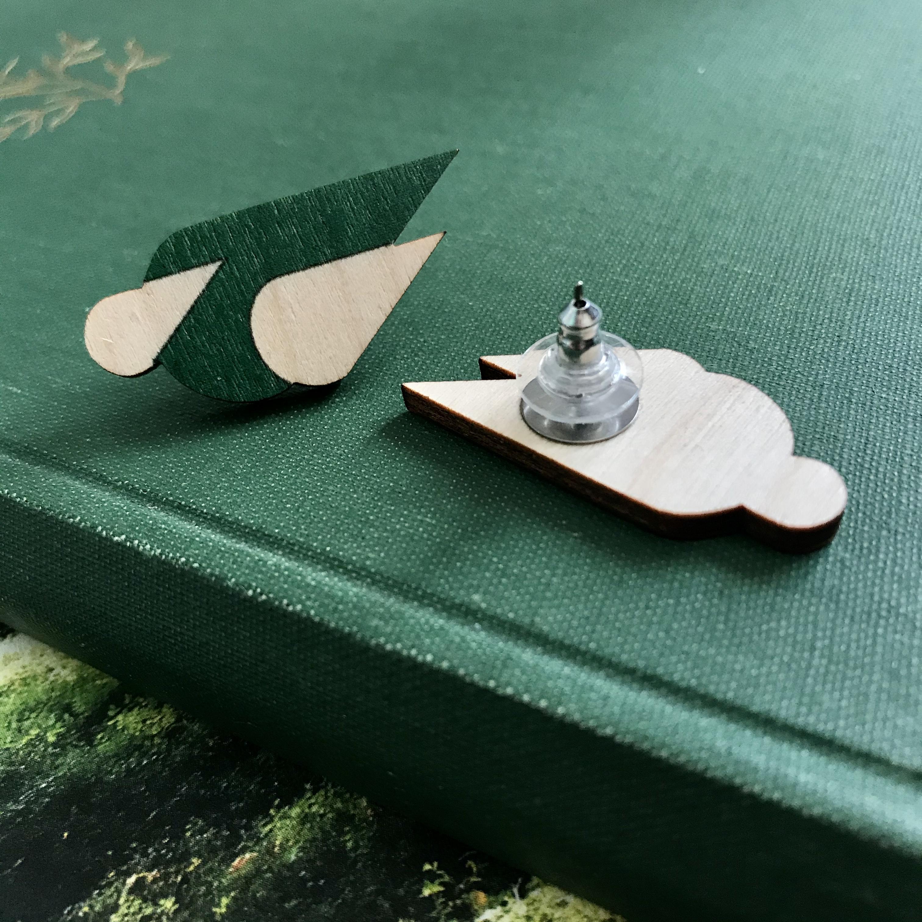 Jatuli: Let it Rain -korvakorut, vihreä/koivu