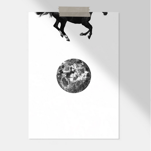 Ainoa Graphic Design: Horse and the Moon -juliste