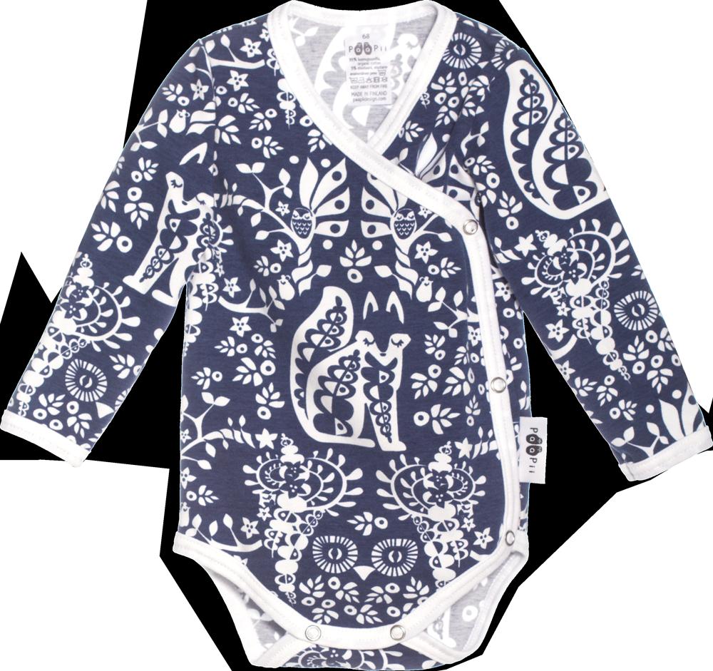 PaaPii Design: Mielikki-kietaisubody, sininen ja vaaleanpunainen