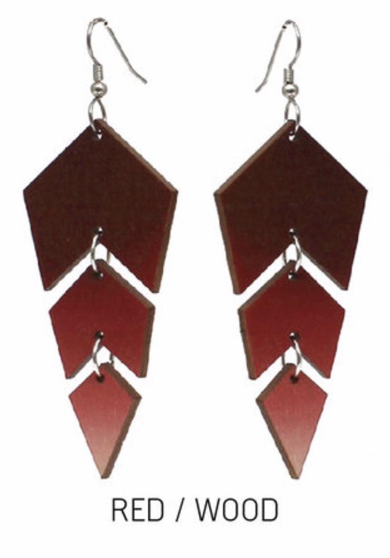 Jatuli: Ombre-korvakorut, punainen/koivu