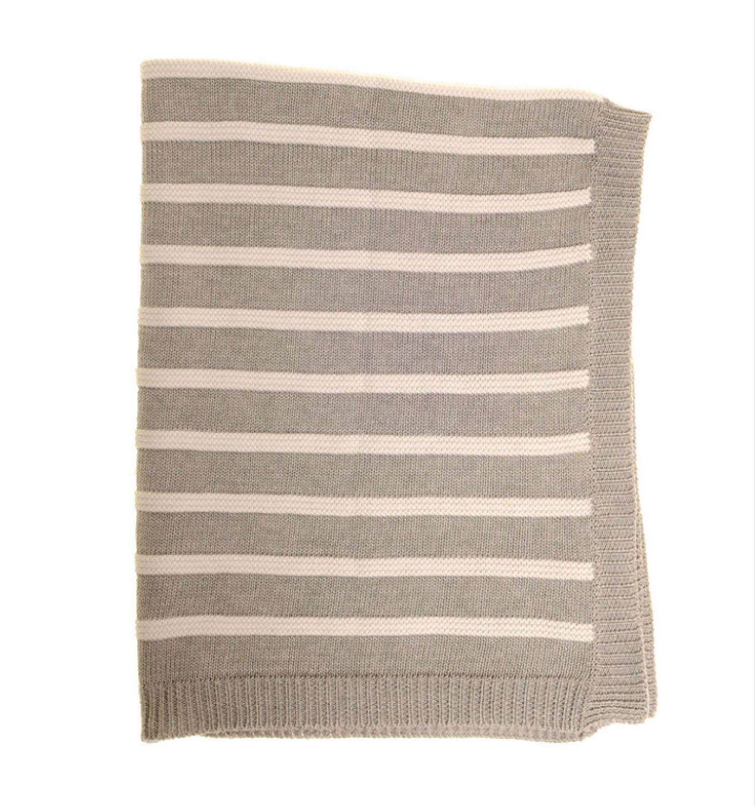 Ziggle Grey & White Stripes Blanket