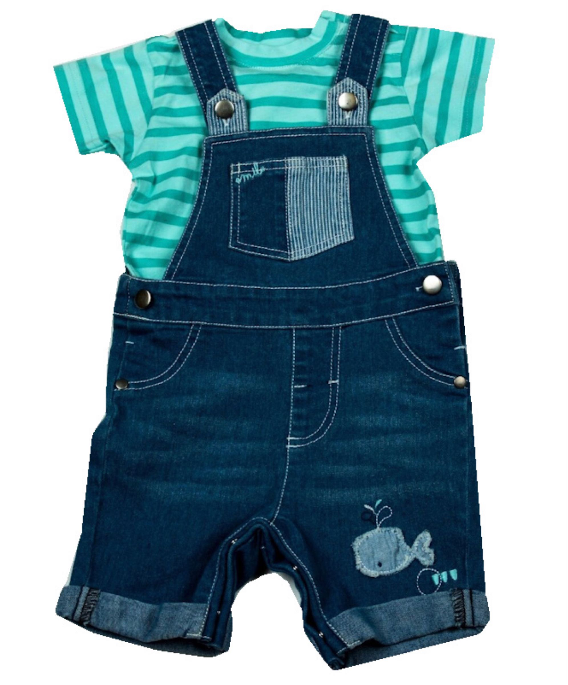 Whale T-shirt and dungarees set