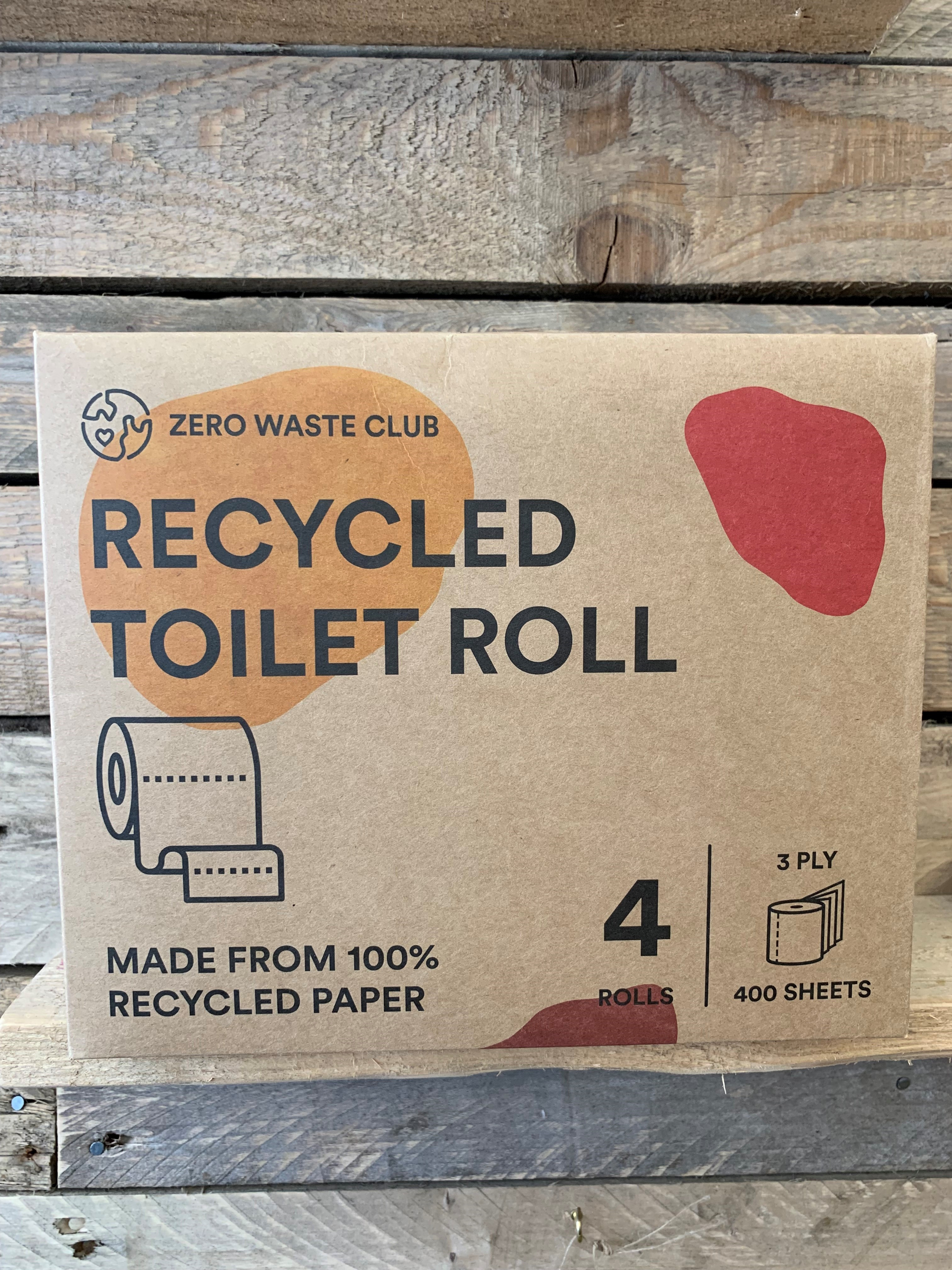 100% Recycled Toilet Paper  -3 ply - Double Length - 4 Roll Pack