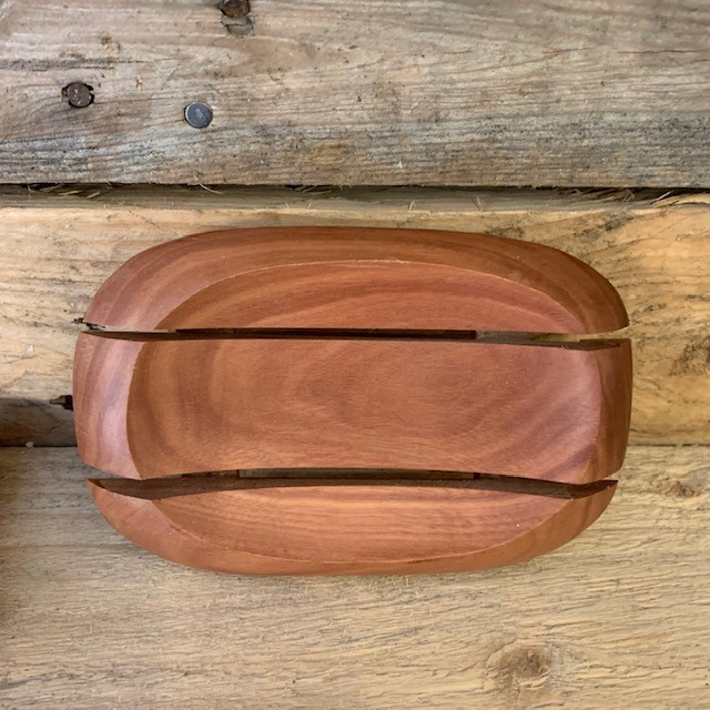 Oval in Rectangle Mahogany Wood Soap Dish
