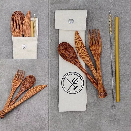 Coconut Wood Cultery Set plus Straw by Battle Green