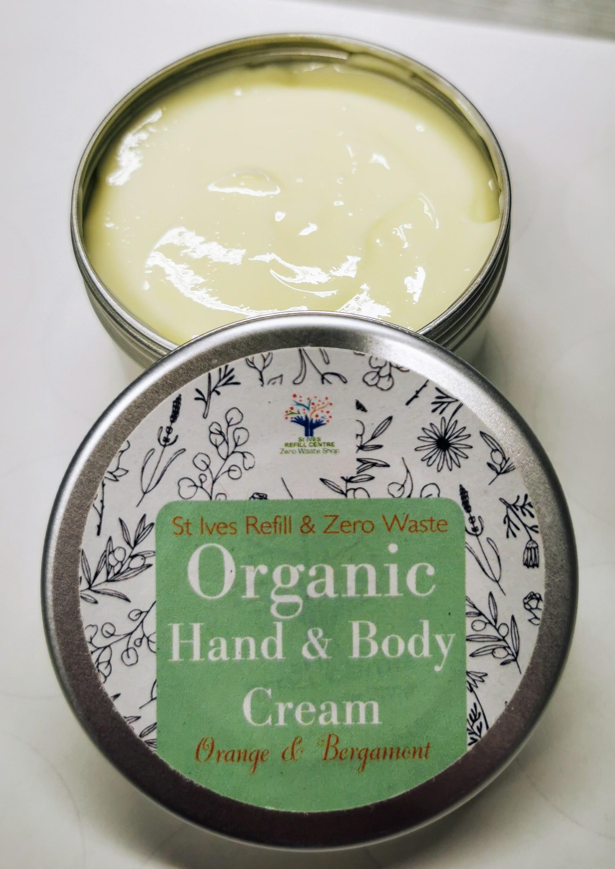 Organic Hand & Body Cream 100ml Tin - Orange & Bergamont