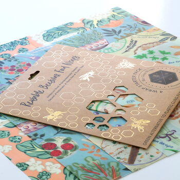 Reuseable Beeswax Food Wraps - Lunch Set (2 wraps mixed designs)