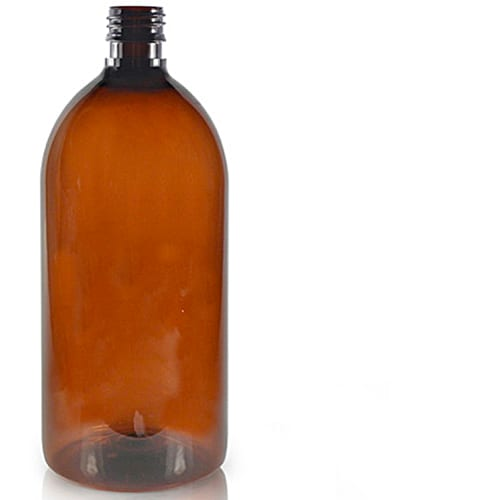1 litre PET plastic amber or clear bottle