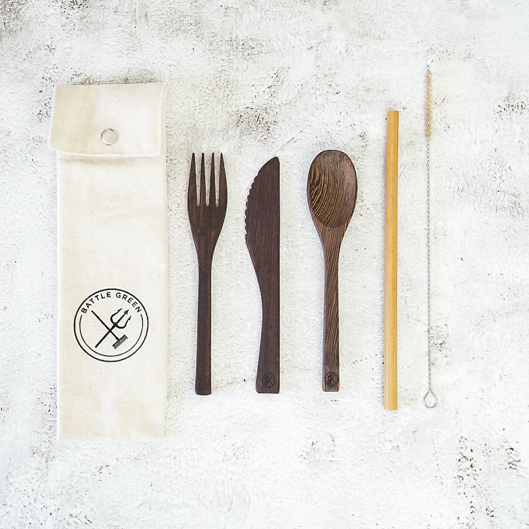 Upcycled Ebony Wood Cutlery Set with Bamboo Straw