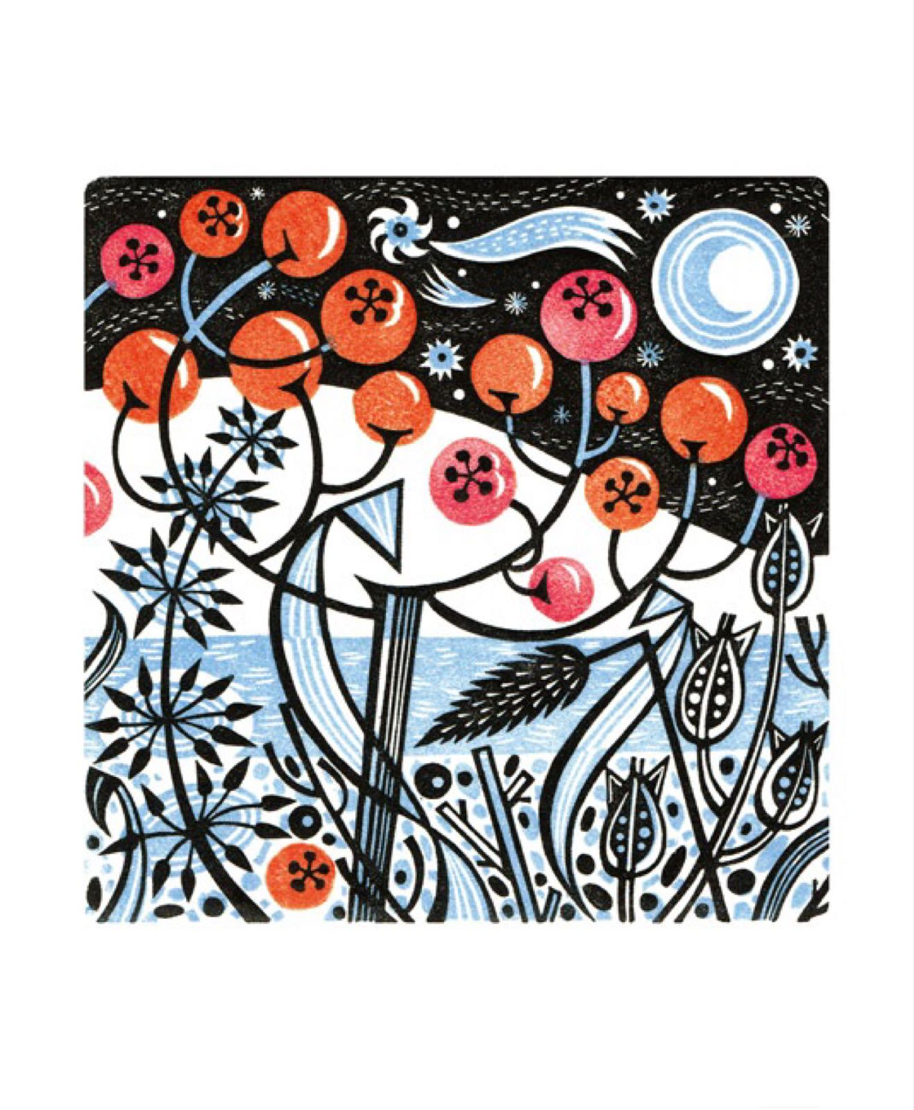 Angie Lewin - Winter Berries Card
