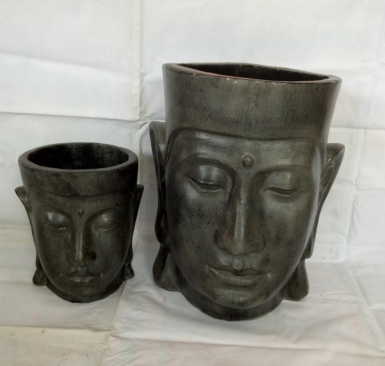 021 Buddha face pots