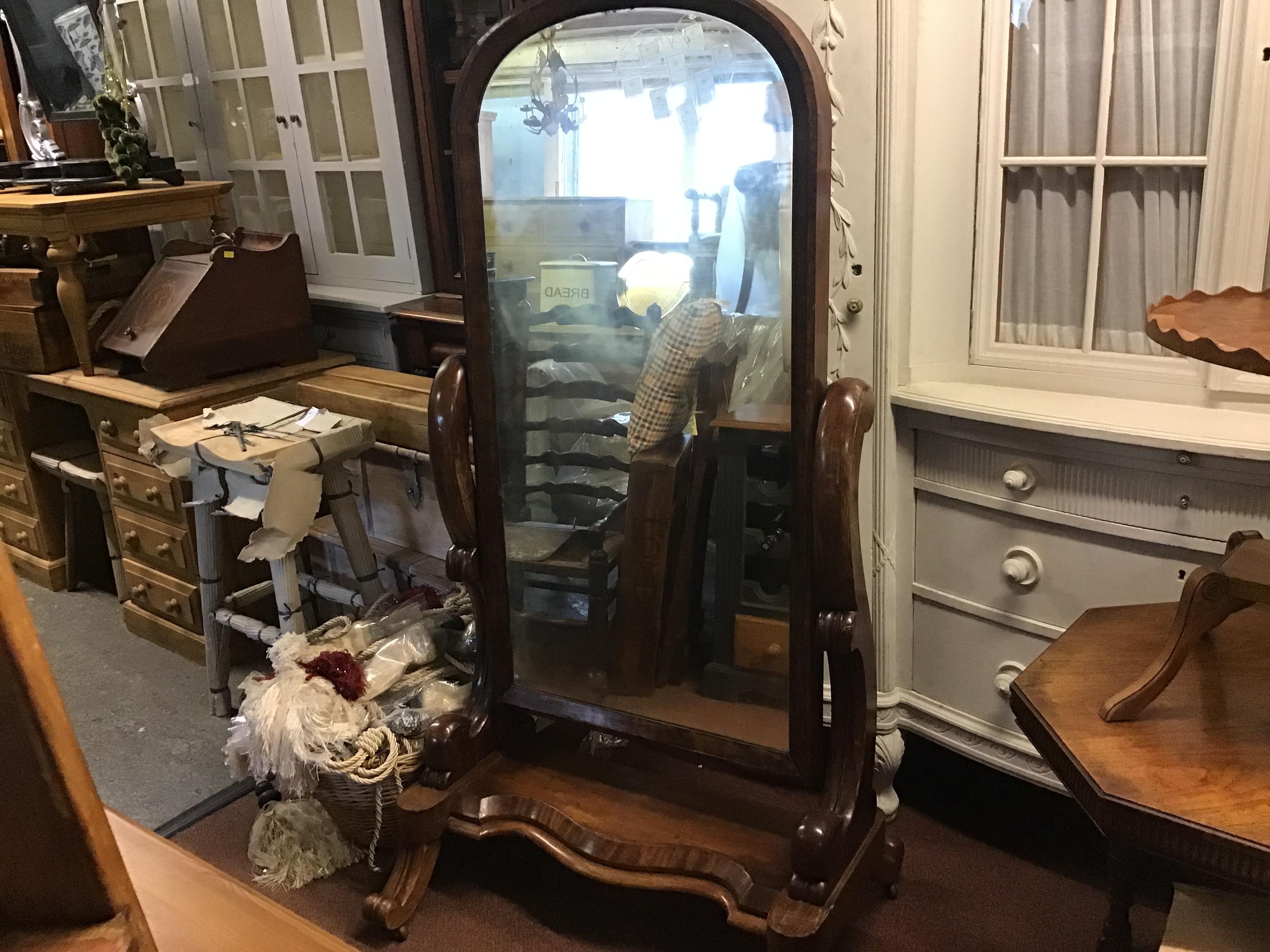 Mahogany full length chevalier mirror