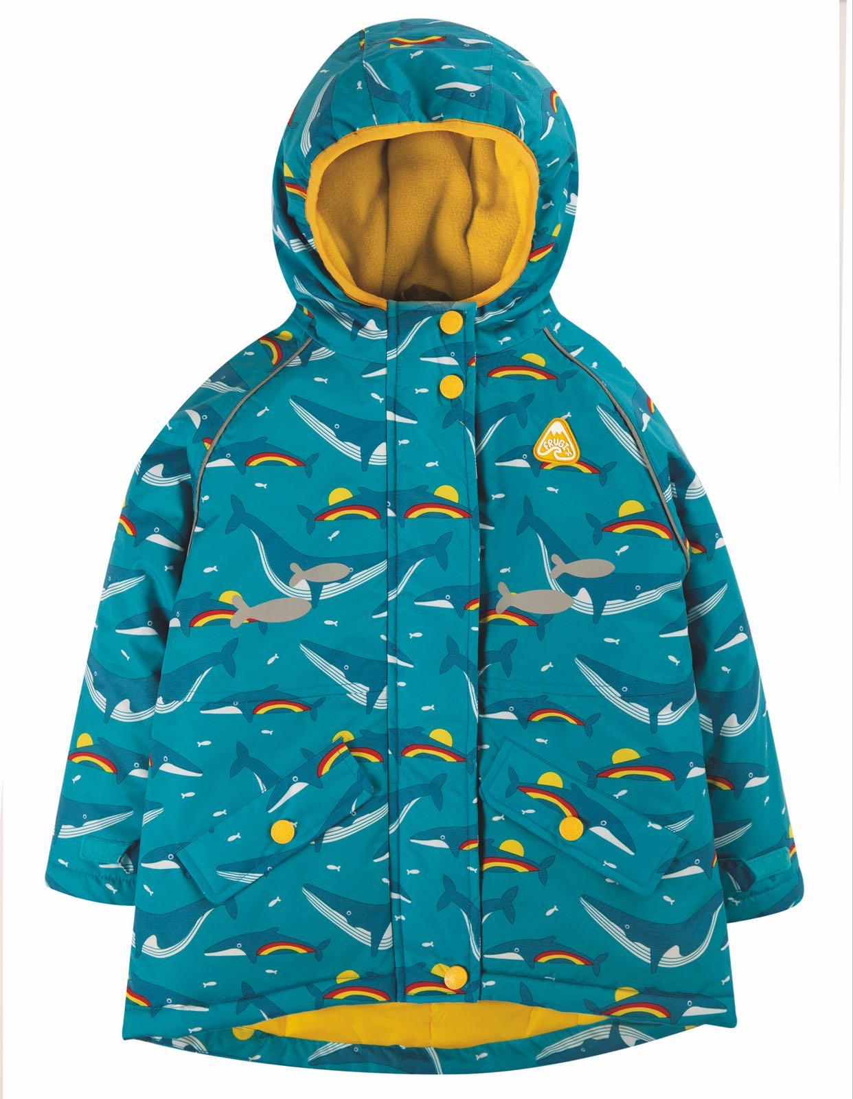 Frugi Explorer Waterproof Coat, Rainbow Whales